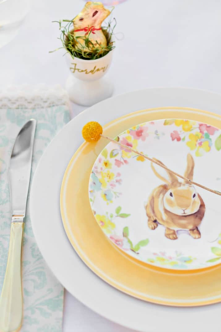 bunny plate on yellow plate