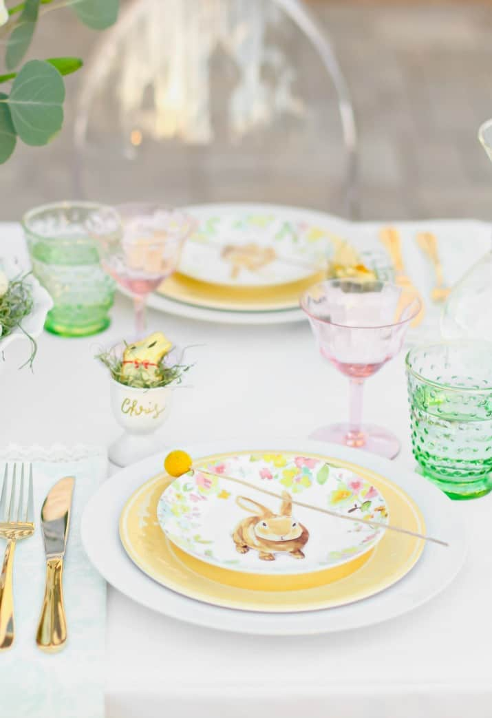 Easter Tablescape place settings