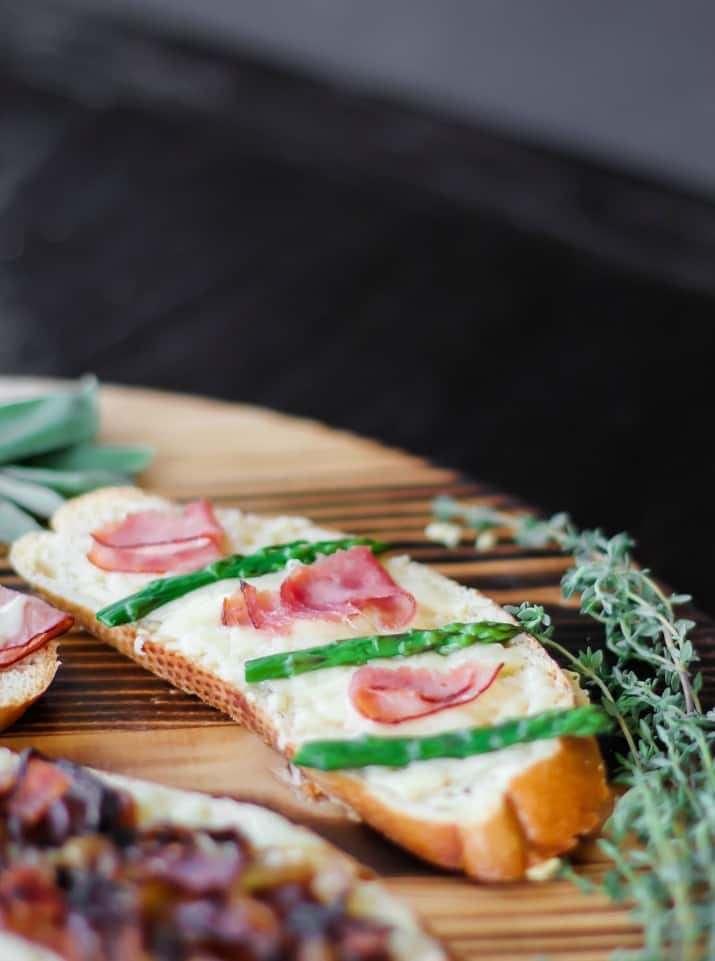 asparagus and ham grilled cheese tartines