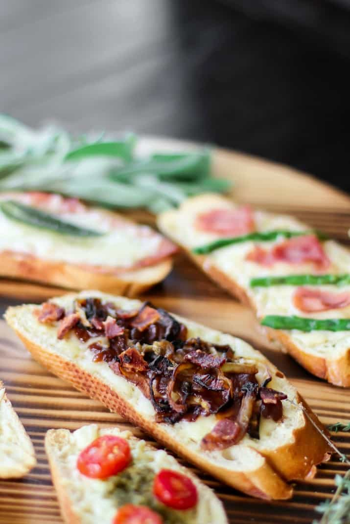 bacon and caramelized onion grilled cheese tartines