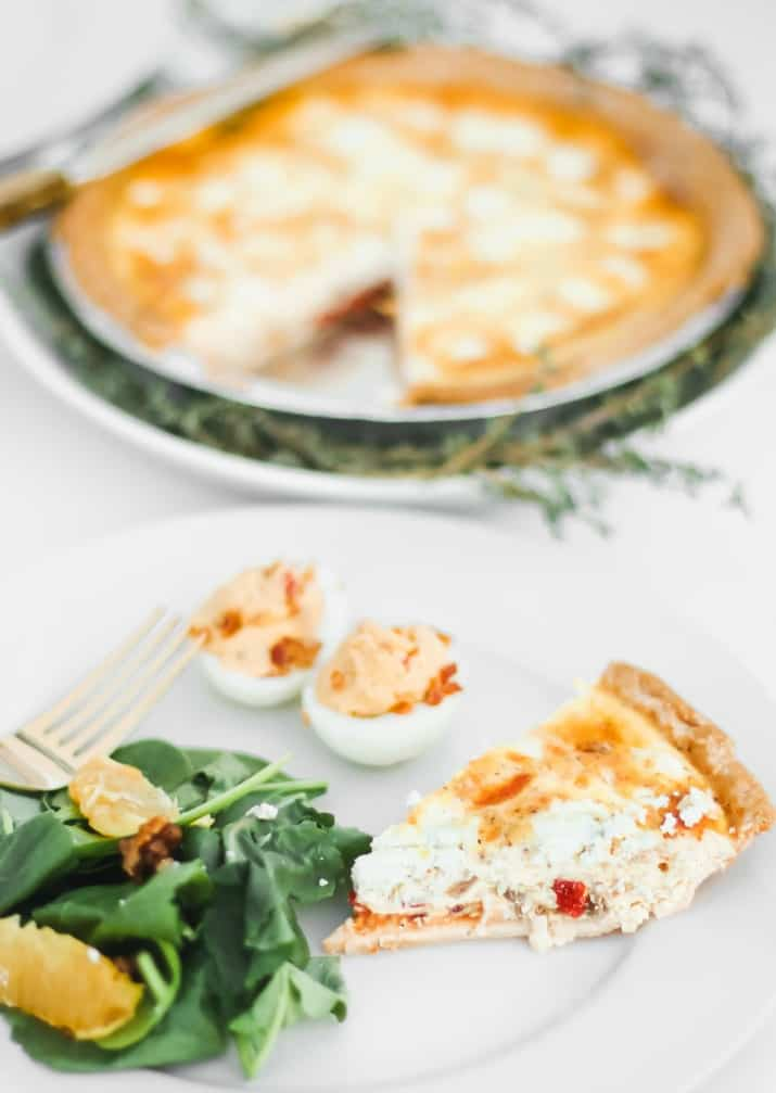 brunch quiche with goat cheese and roasted red peppers