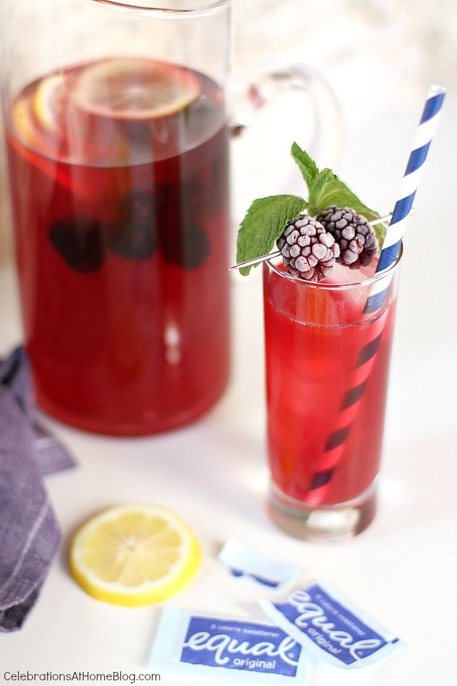 blackberry-lemonade iced tea pitcher and glass