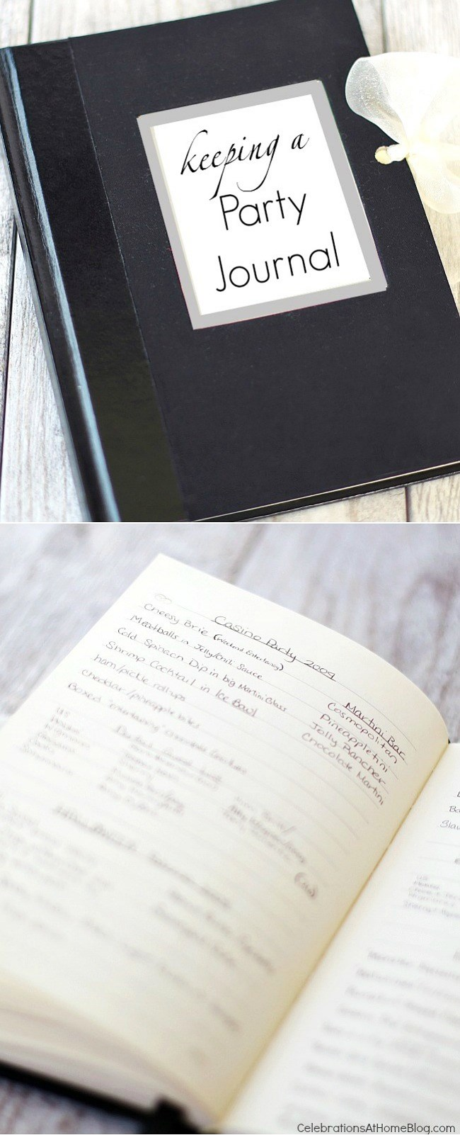 I've been keeping a party journal for years! Get a peek inside and find out what information to keep. It's an invaluable tool for entertaining at home.