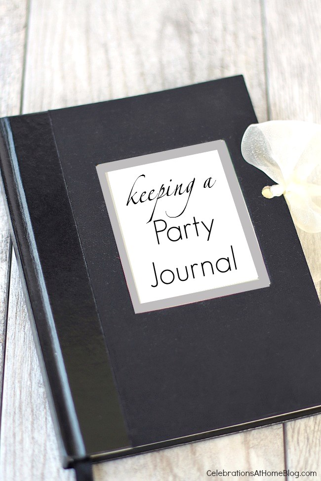 keeping a party journal text on black journal