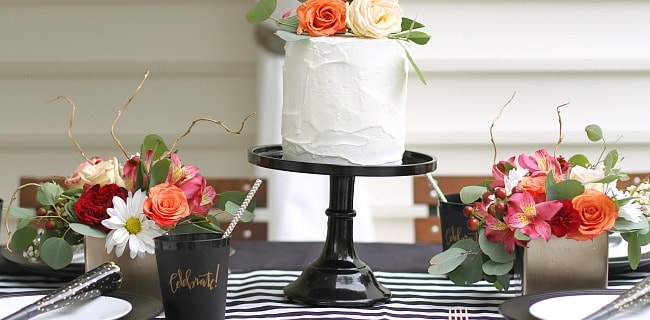Black & White Celebration Tablescape