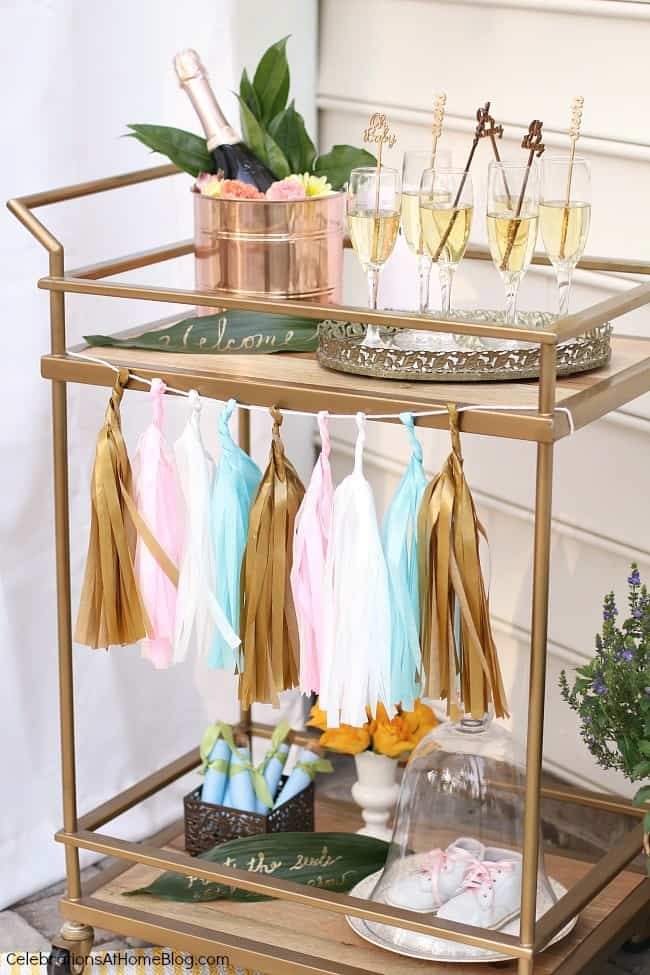 bar cart styled for baby shower