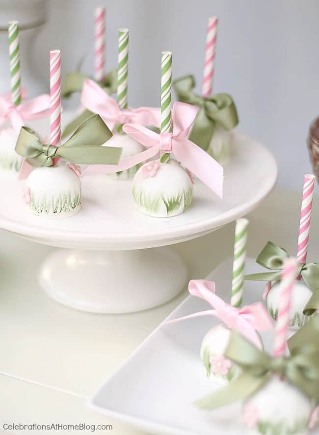 cake pops on white stand