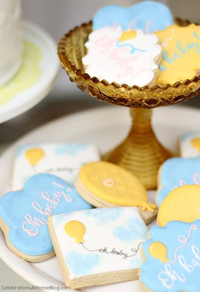 decorated sugar cookies for balloon theme baby shower