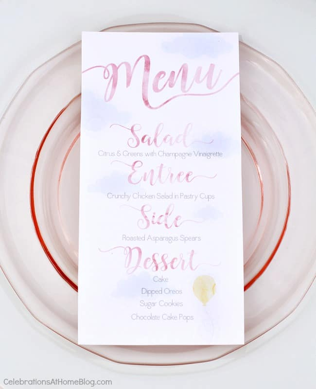 menu card with cloud and balloon design
