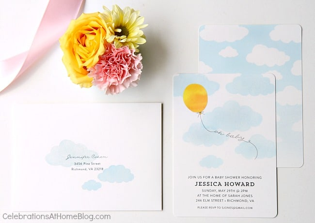 balloon in the sky invitations