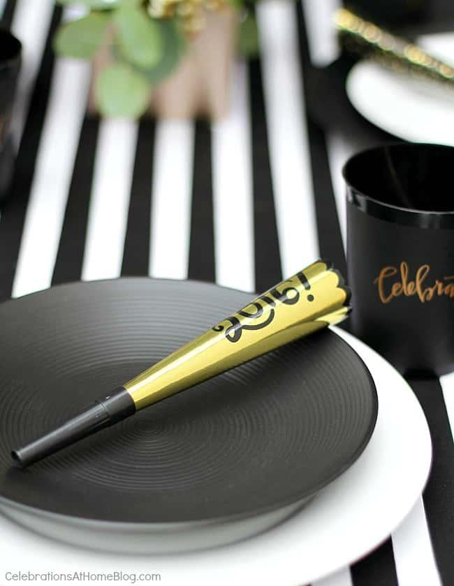 black & white celebration tabletop place settings