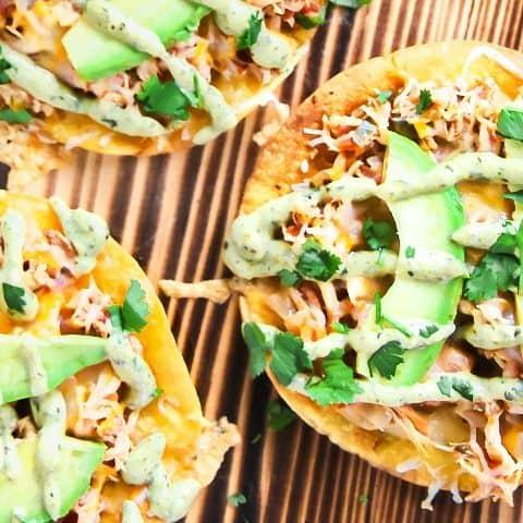 chicken tostadas poblano sauce recipe card