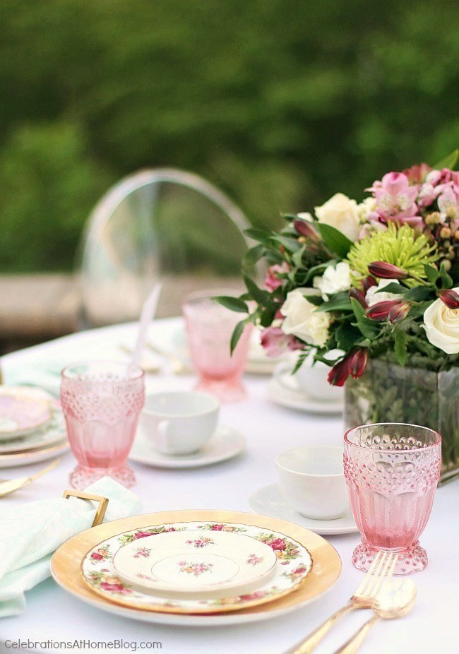 Setting a mothers day brunch table with Chris Nease of CelebrationsAtHomeBlog.com