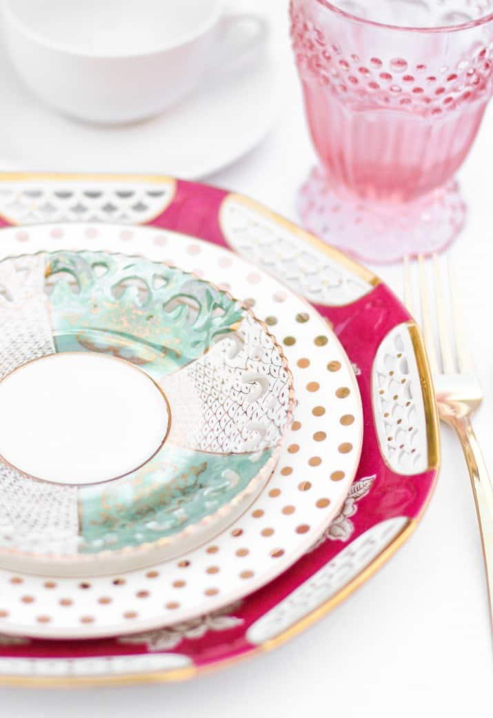 place settings with mix and match layered china