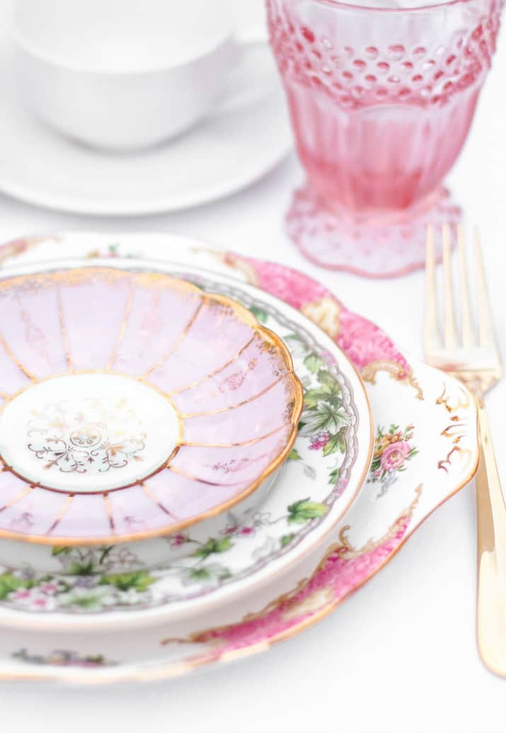 vintage china layered place settings