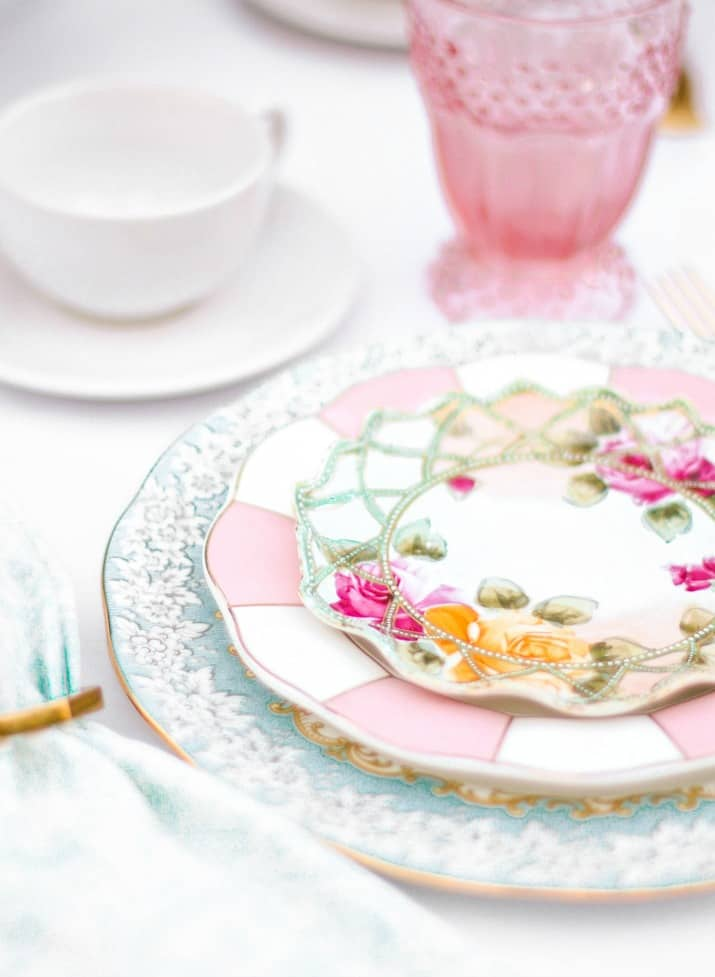 layered vintage chine plates