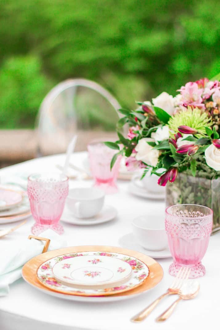 Vintage china place settings for mothers day brunch