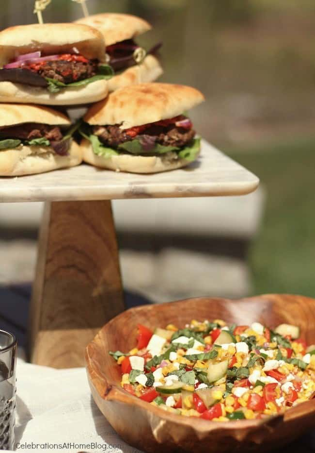 al fresco dinner party food, burgers and corn salad