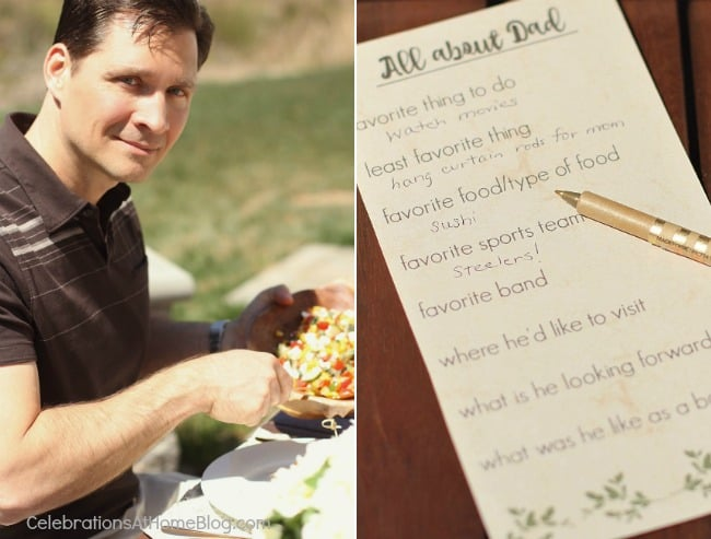 al fresco dinner party with fathers day card