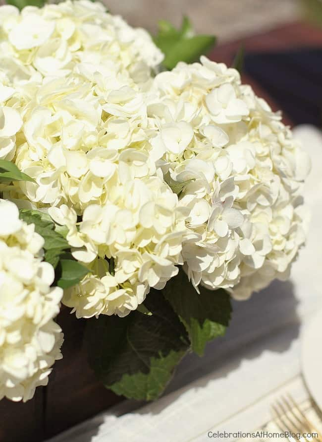 al fresco dinner party centerpiece of white hydrangeas