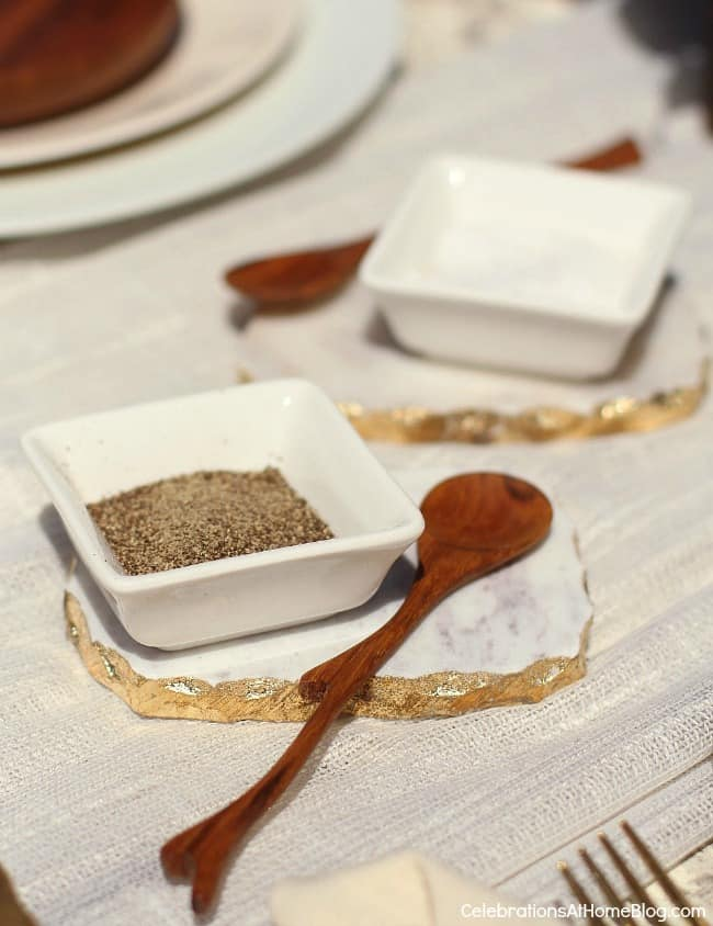 al fresco dinner party details, salt and pepper dishes