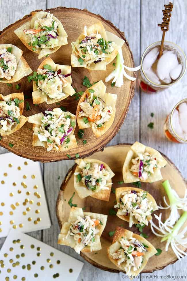 These Asian style tuna wonton cup appetizers will rock your world! A great make-ahead party appetizer that's full of flavor!