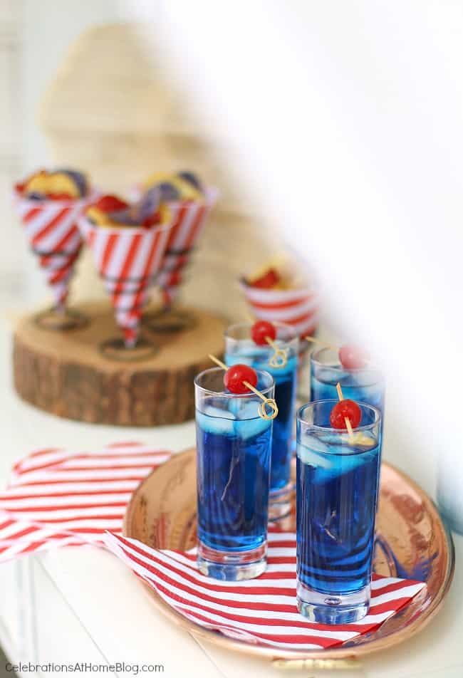 red white & blue party cocktail
