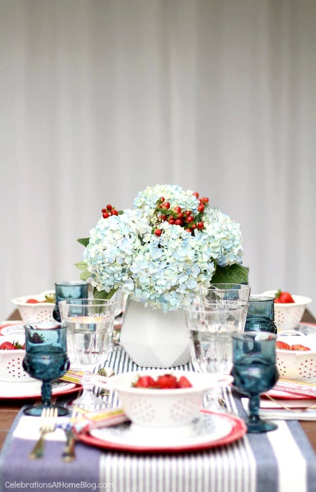 Celebrate the 4th of July with a red white & blue party tablescape
