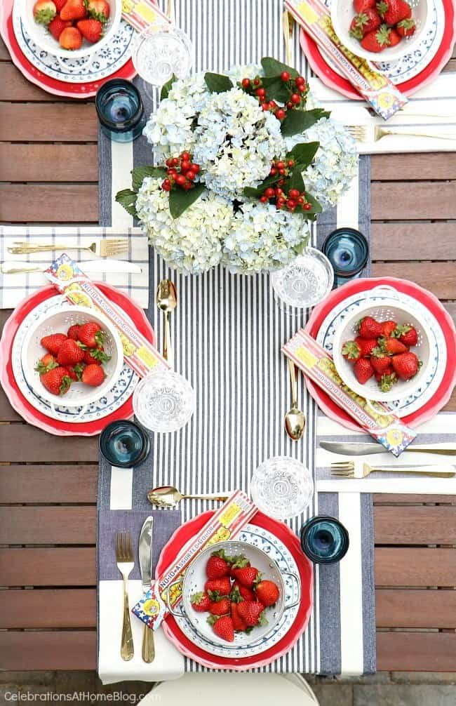red white & blue party tablescape, July 4th