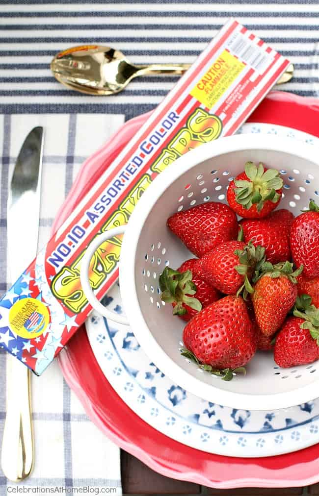 red white & blue party, strawberries in white colander