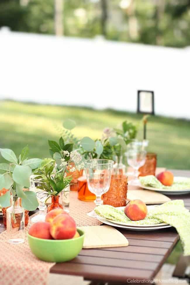 peach botanical summer tablescape