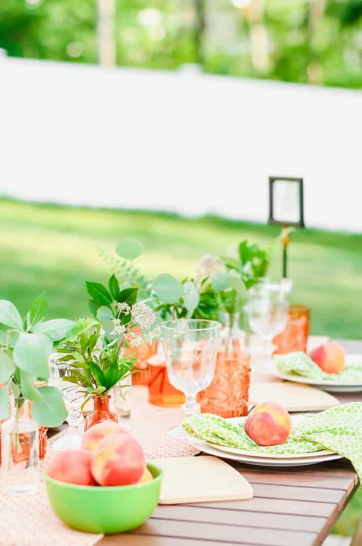 peach themed garden party