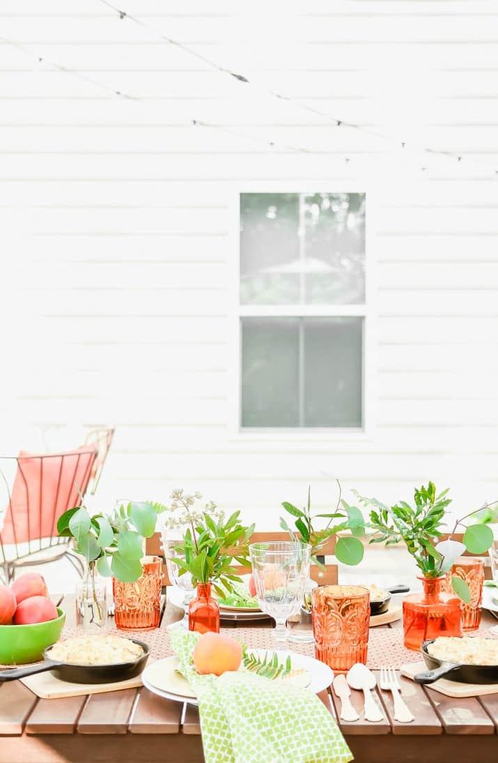 peach and botanical table setting