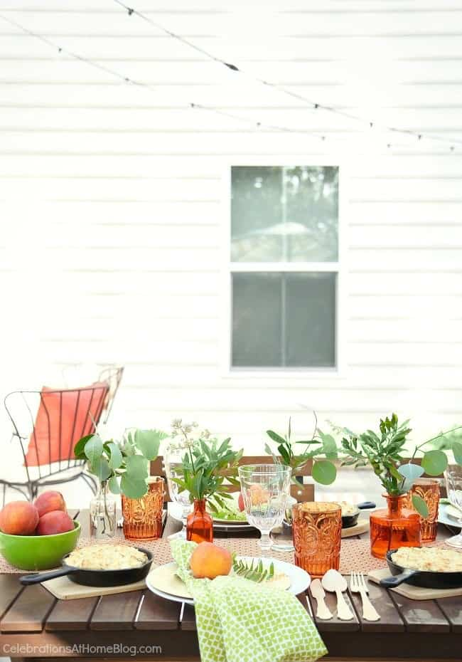 Check out the inspiration from my peach & botanical garden party, including this peach and green tablescape. Peach party.