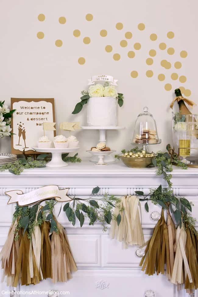 First anniversary party ideas you'll love; Gold and white dessert party.