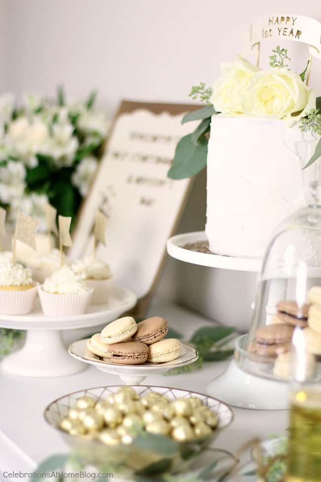 1st Anniversary Party Ideas In Gold Amp White Celebrations