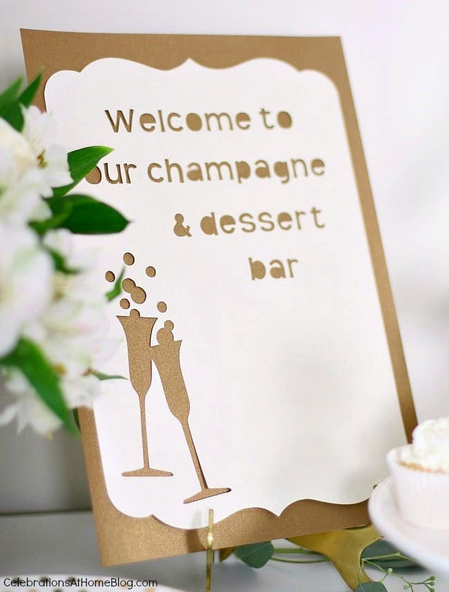 First anniversary party ideas you'll love; Gold and white dessert party. DIY dessert and champagne sign