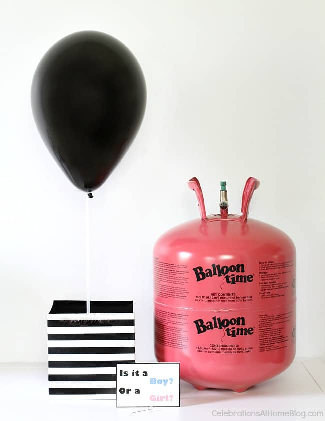 DIY balloon gender reveal project.