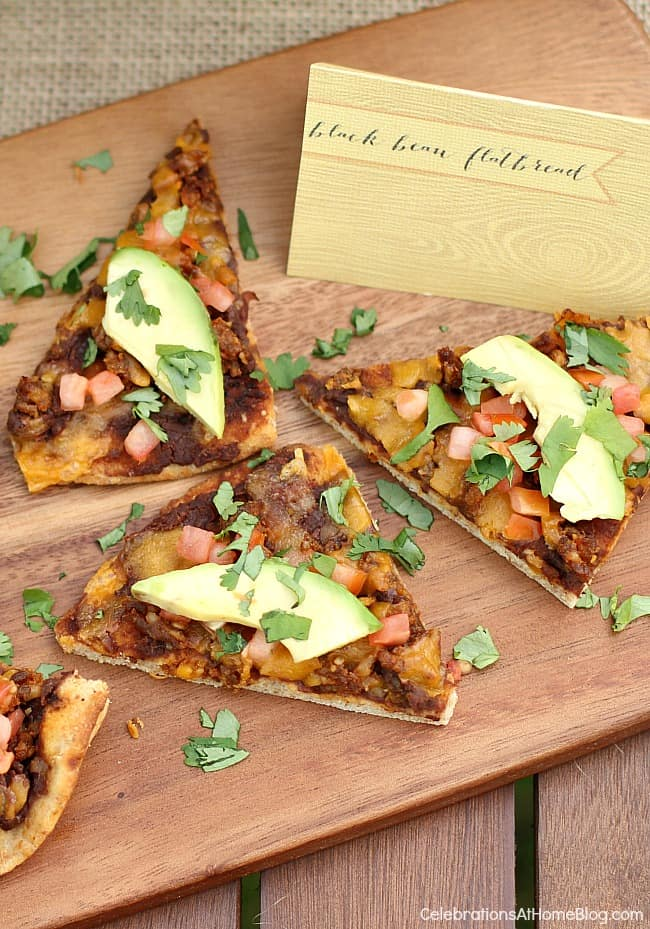 This black bean chorizo flatbread pizza is terrific for an appetizer or meal. Get the recipe here.
