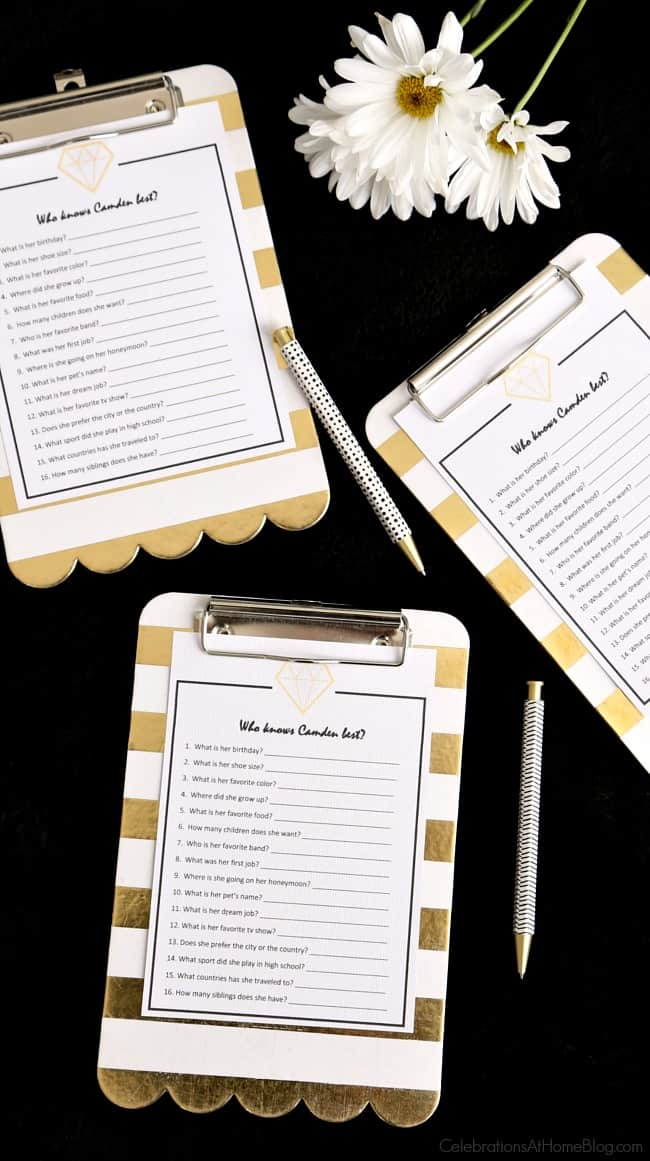 Bridal shower game cards on mini clip boards