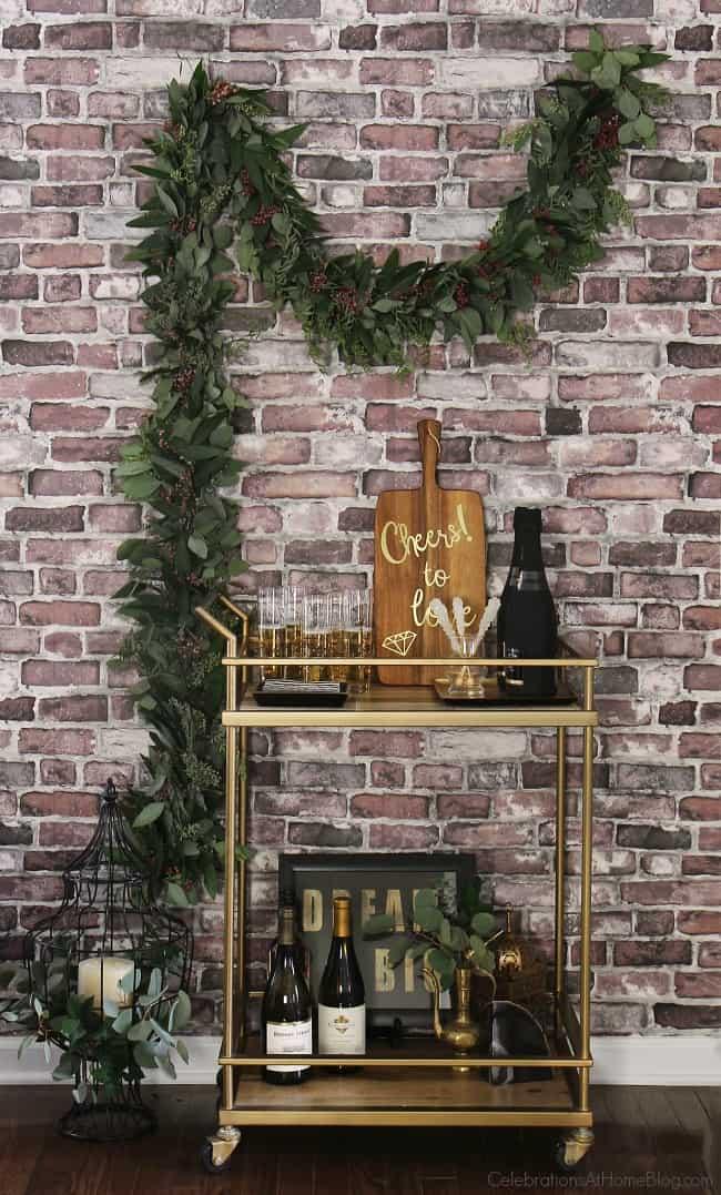 Bridal shower bar cart; black & gold bridal shower by Chris Nease of CelebrationsAtHomeBlog.com