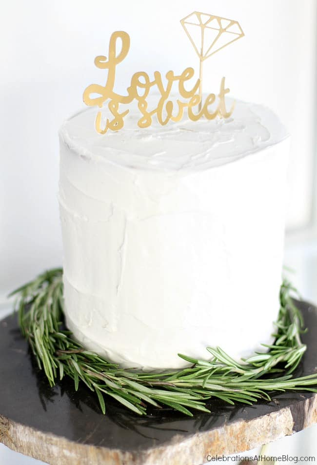 Black & gold bridal shower ideas for the do-it-yourself-er. A lovely styled shoot for a celebration at home | diy bridal shower cake topper