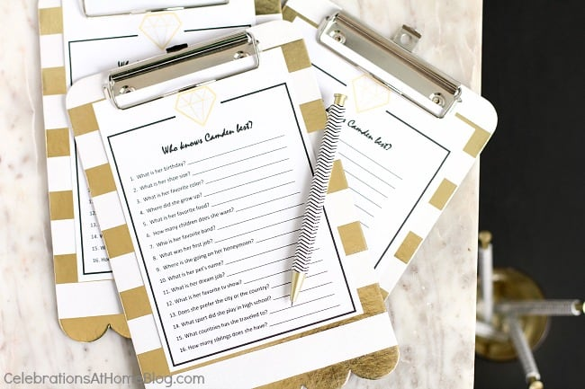 Black & gold bridal shower ideas for the do-it-yourself-er. A lovely styled shoot for a celebration at home | bridal shower game