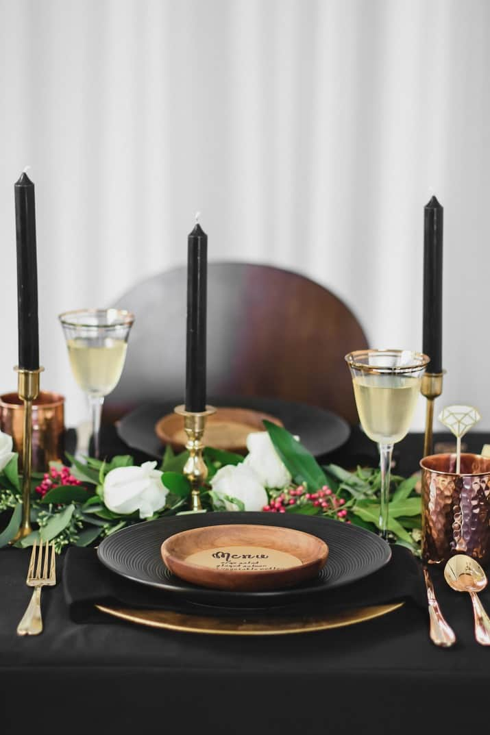 Black & gold table setting ideas