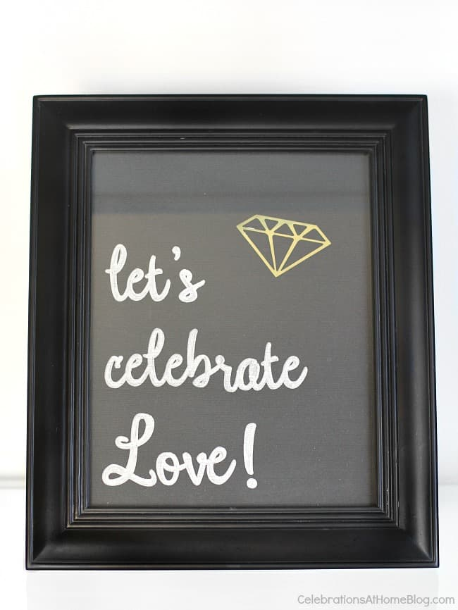 Black & gold bridal shower ideas for the do-it-yourself-er. A lovely styled shoot for a celebration at home | diy bridal shower sign