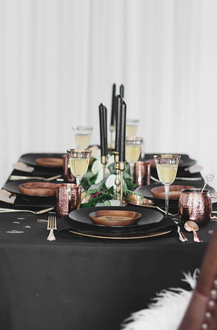 Black & gold bridal shower tablescape