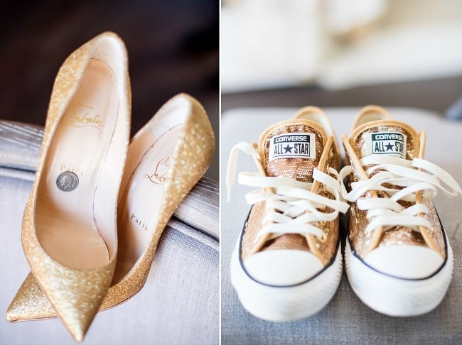 This sparkling wedding reception in Portland is beautiful inspiration for your big day. With glamorous details balanced with whimsical touches, it's a gorgeous celebration! Gold shoes!