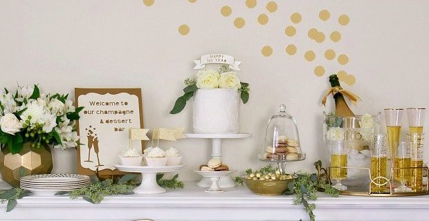 1st Anniversary Party Ideas in Gold & White