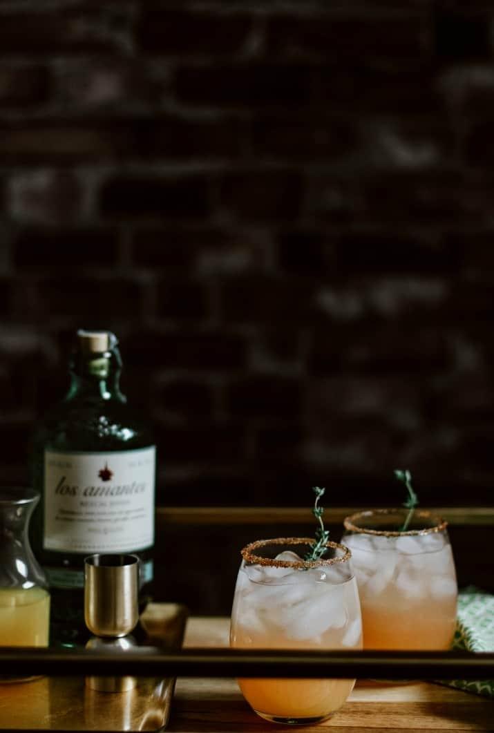cocktails on bar cart