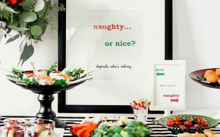 Naughty or Nice Christmas Party Ideas with food, decor, & printable signs